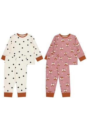 pyjama - set van 2 roze/ecru