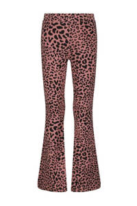 HEMA flared legging met panterprint oudroze, Oudroze