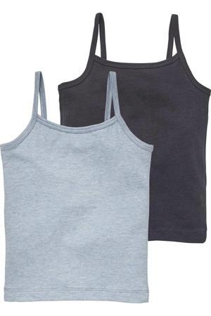 hemd - set van 2 lichtblauw/donkerblauw