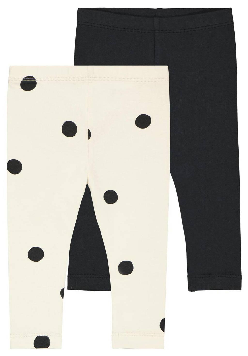 HEMA baby legging met stip/uni - set van 2 wit/zwart, Wit/zwart