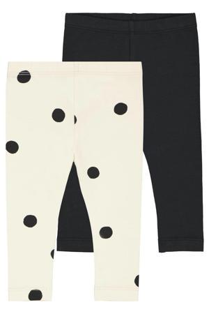 baby legging met stip/uni - set van 2 wit/zwart