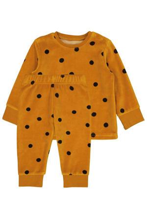 baby velours pyjama met stippen oker/bruin