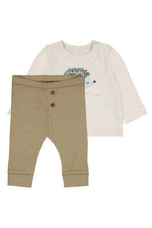 newborn longsleeve + broek met print offwhite/zand