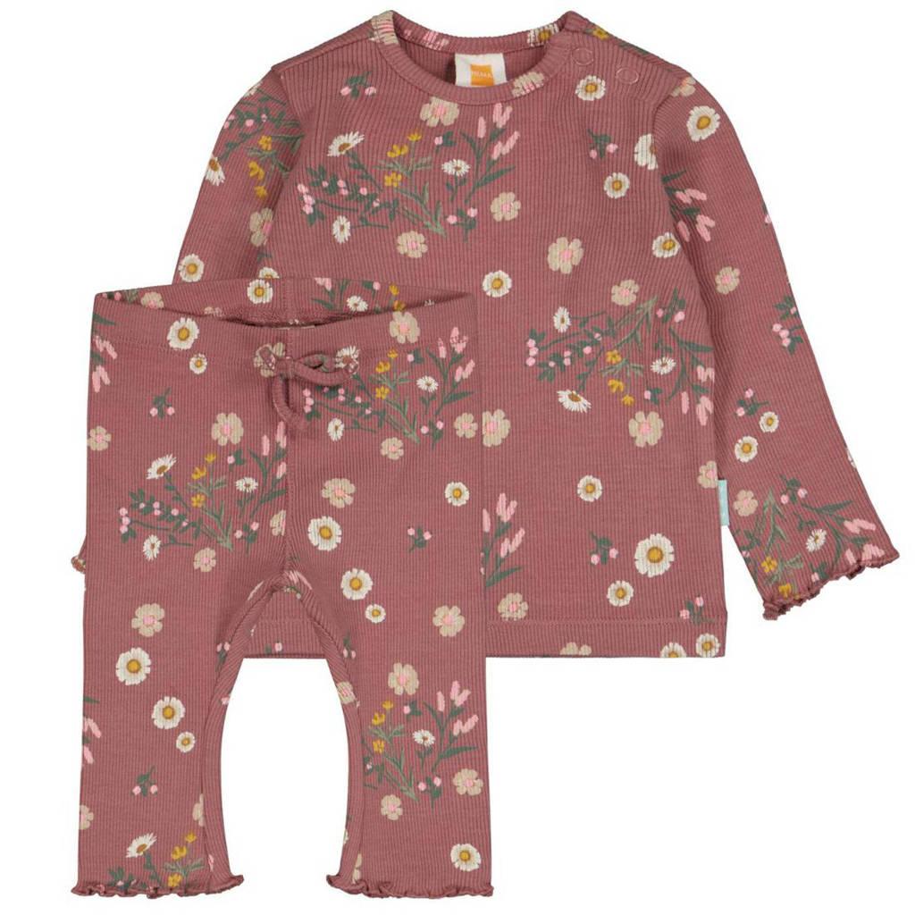 HEMA ribgebreide newborn longsleeve + legging met bloemendessin roze, Oudroze/grijs