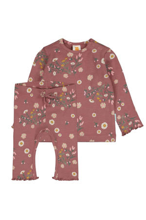 ribgebreide newborn longsleeve + legging met bloemendessin roze