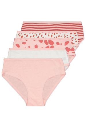 slip - set van 5 roze/wit
