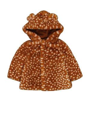 imitatiebont winterjas met dierenprint bruin/lichtbruin