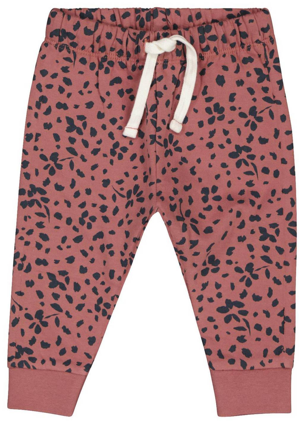 HEMA regular fit broek met all over print oudroze/zwart, Oudroze/zwart