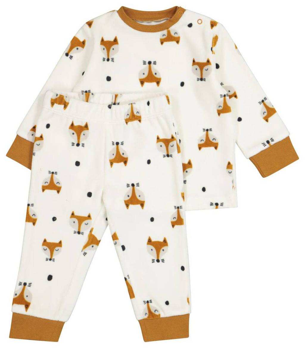 HEMA   baby velours pyjama met dierenprint ecru/bruin, Ecru/bruin