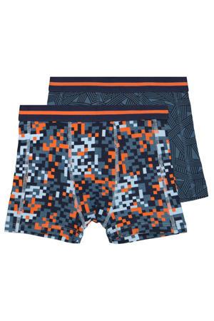 boxershort - set van 2 blauw/oranje