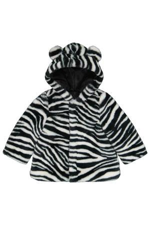 baby imitatiebont winterjas met zebraprint wit/zwart