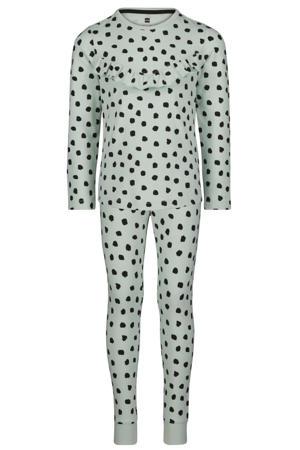 pyjama met stippen en ruches lichtblauw/zwart