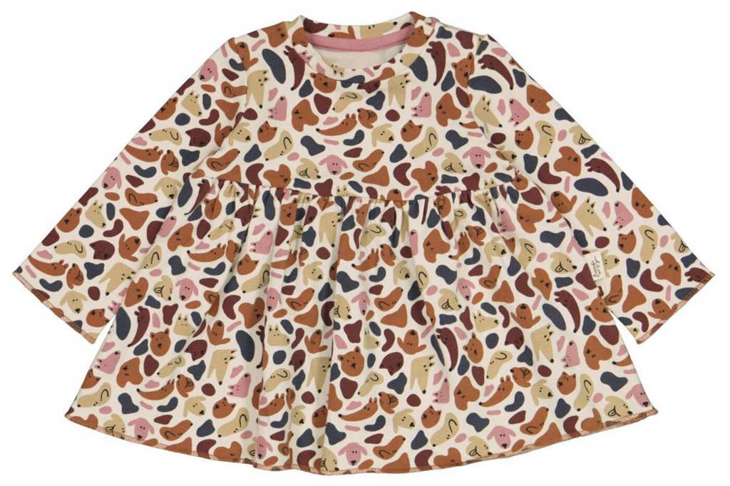HEMA A-lijn jurk met all over print wit/bruin, Wit/bruin
