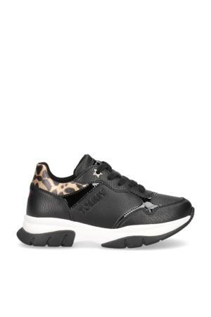 sneakers met panterprint zwart