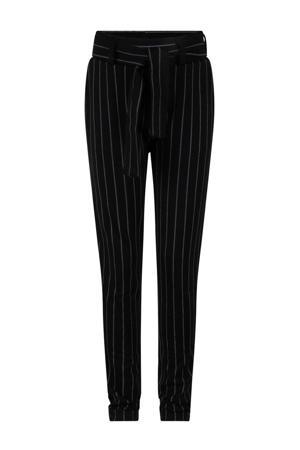 gestreepte slim fit broek zwart