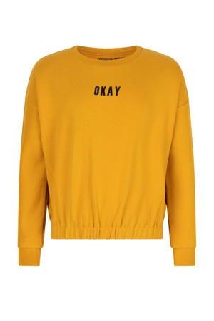 sweater met tekst goudgeel