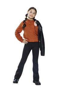 Indian Blue Jeans gestreepte flared broek zwart, Zwart