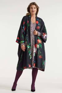 Miljuschka by Wehkamp limited edition reversible kimono in bloemenprint, Zwart, rood, groen
