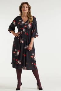 Miljuschka by Wehkamp limited edition jurk met v-hals  met bloemenprint, Zwart/rood/ecru