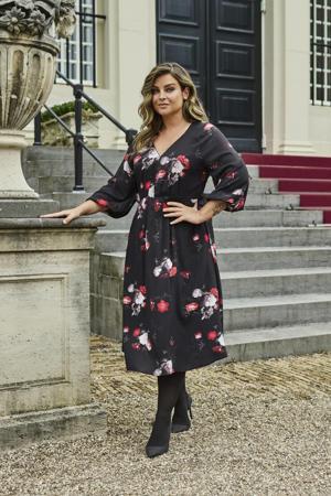 limited edition jurk met v-hals  met bloemenprint