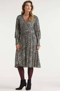 Miljuschka by Wehkamp jurk met smock details dierenprint, Ecru/zwart