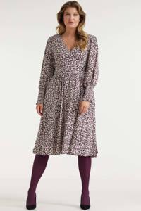 Miljuschka by Wehkamp jurk met smock details met bloemenprint burgundy, Rood/wit