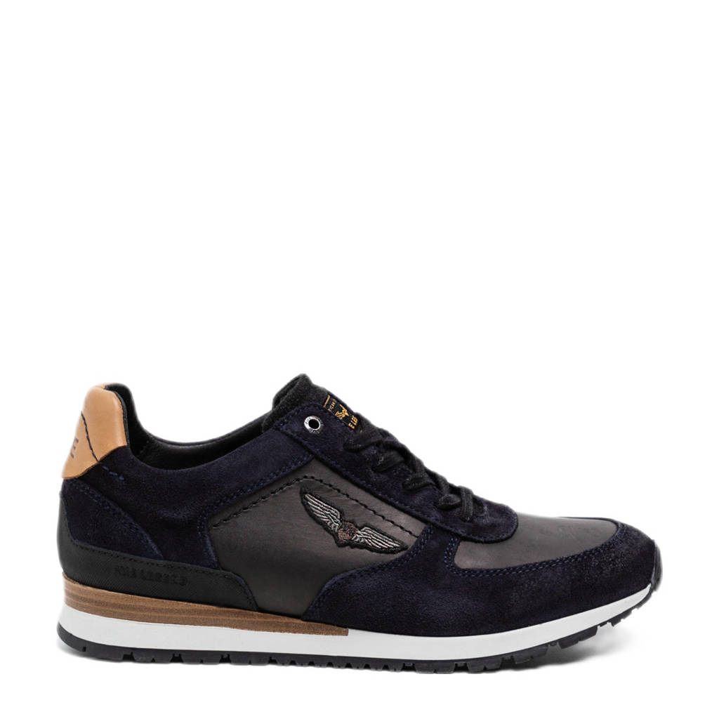 PME Legend Lockplate  leren sneakers zwart, Zwart/bruin