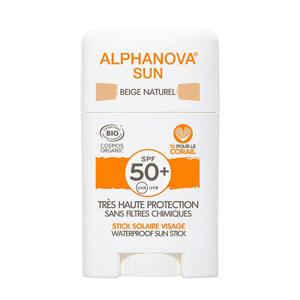bio spf 50+ gezicht zonnebrand stick - beige