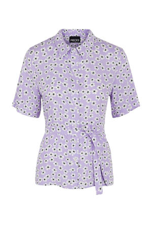 gebloemde blouse lila/zwart/wit