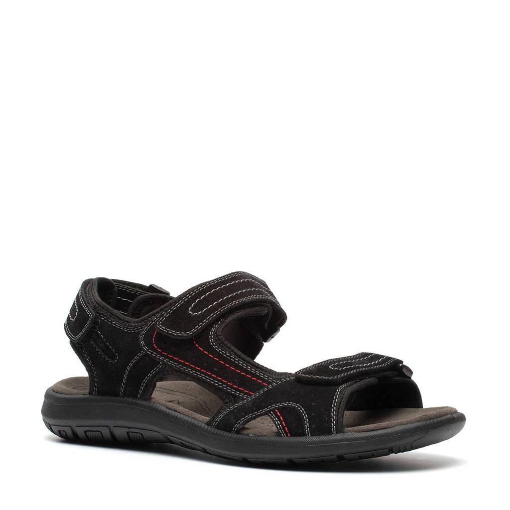 Scapino Mountain Peak   suède outdoor sandalen zwart, Zwart
