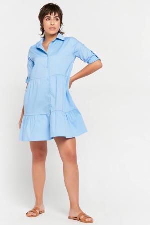 blousejurk met volant lichtblauw