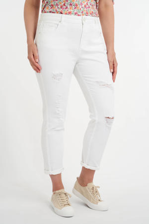cropped mom jeans met slijtage wit