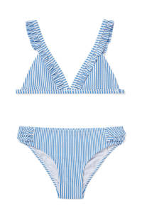 C&A gestreepte triangel bikini met ruches blauw/wit, Blauw/wit