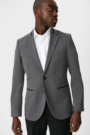 slim fit colbert met contrastbies grijs