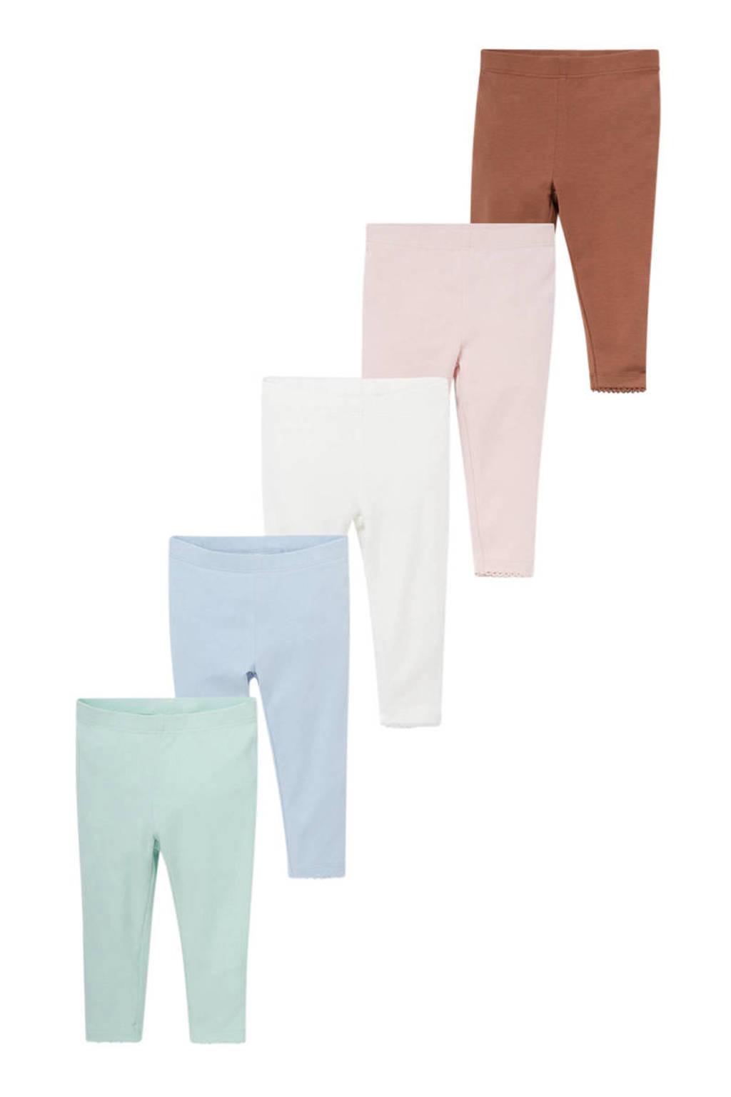 C&A Baby Club legging - set van 5 groen/blauw/wit/roze/bruin, Groen/blauw/wit/roze/bruin