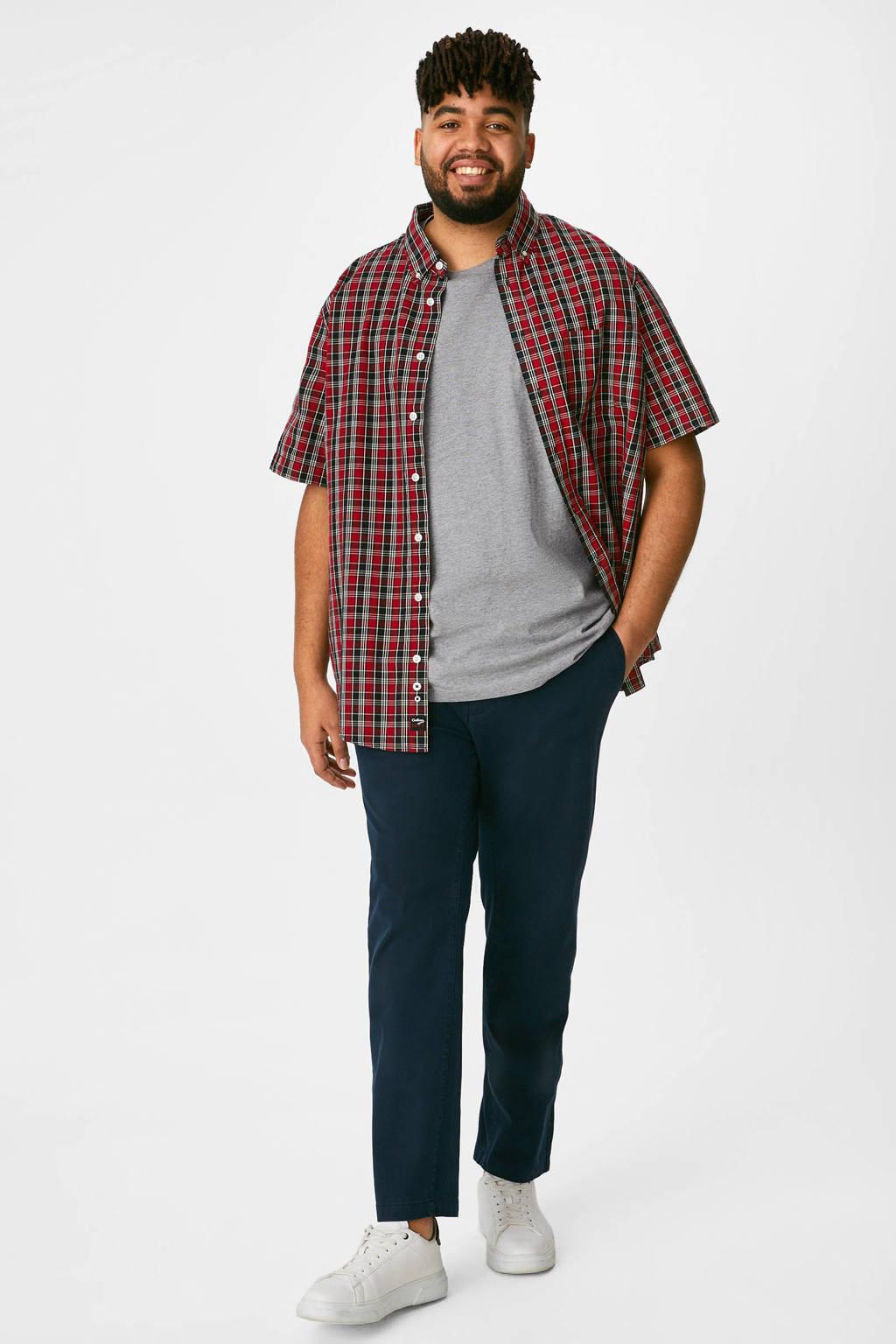 C&A XL overhemd + T-shirt rood/grijs, Rood/grijs