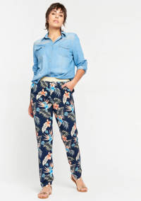 LOLALIZA loose fit palazzo broek met bladprint donkerblauw/blauw/oranje/groen, Donkerblauw/blauw/oranje/groen