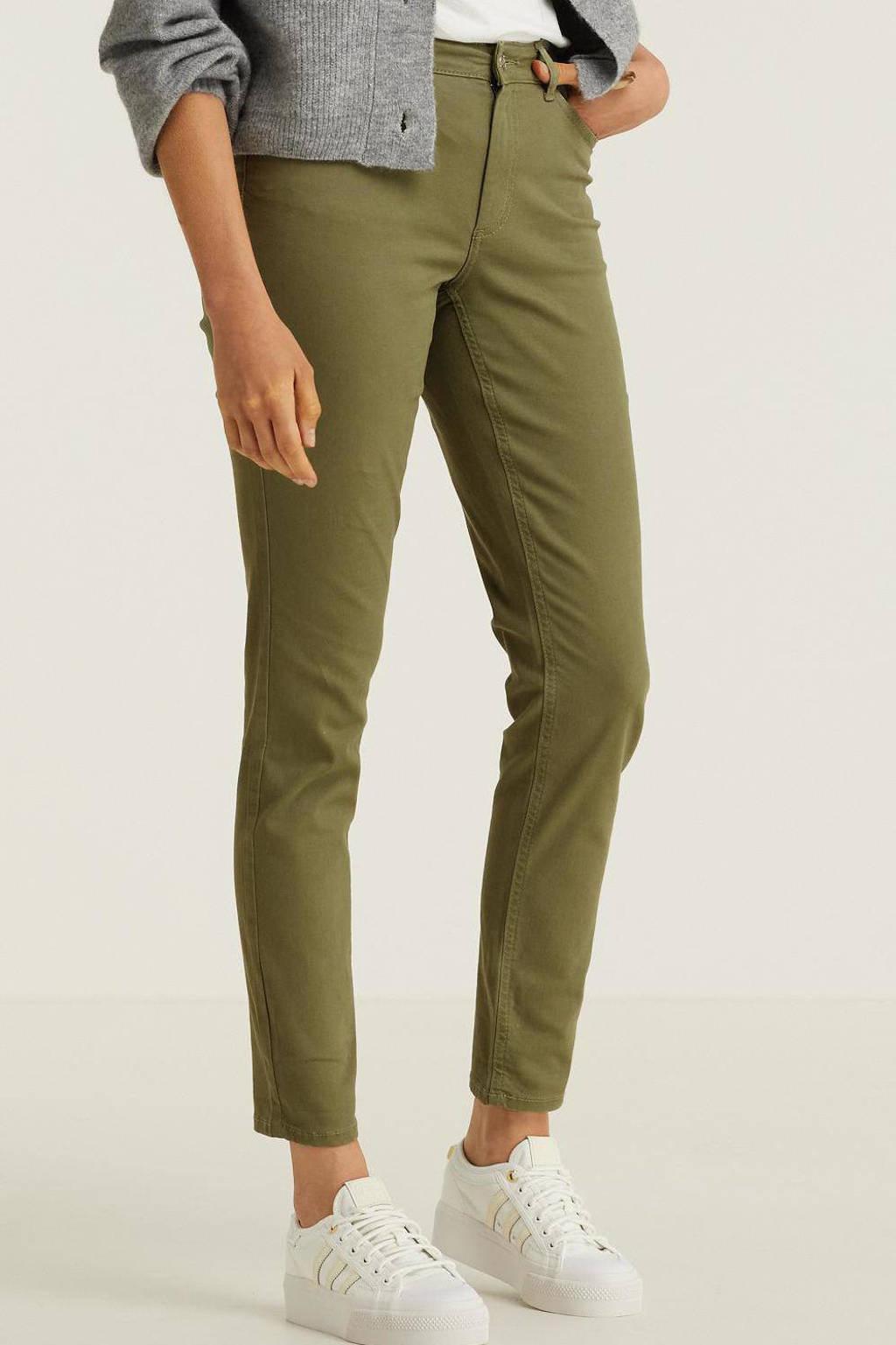 anytime mid rise jeans kaki groen, Khaki groen