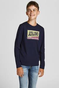 JACK & JONES JUNIOR longsleeve JORMASON met logo donkerblauw, Donkerblauw