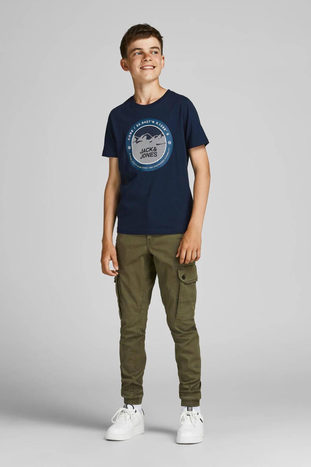 JACK & JONES JUNIOR T-shirt JCOBILO met logo donkerblauw, Donkerblauw