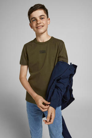 T-shirt JCOCLASSIC met logo army groen