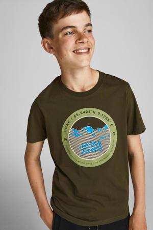 T-shirt JCOBILO met logo groen