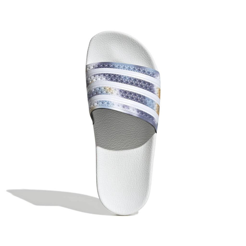 adidas Originals Adilette  badslippers wit/blauw, Wit/blauw