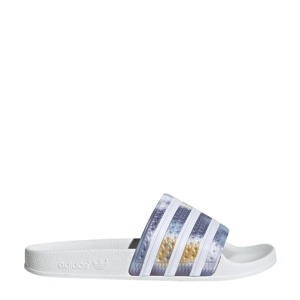 Adilette  badslippers wit/blauw