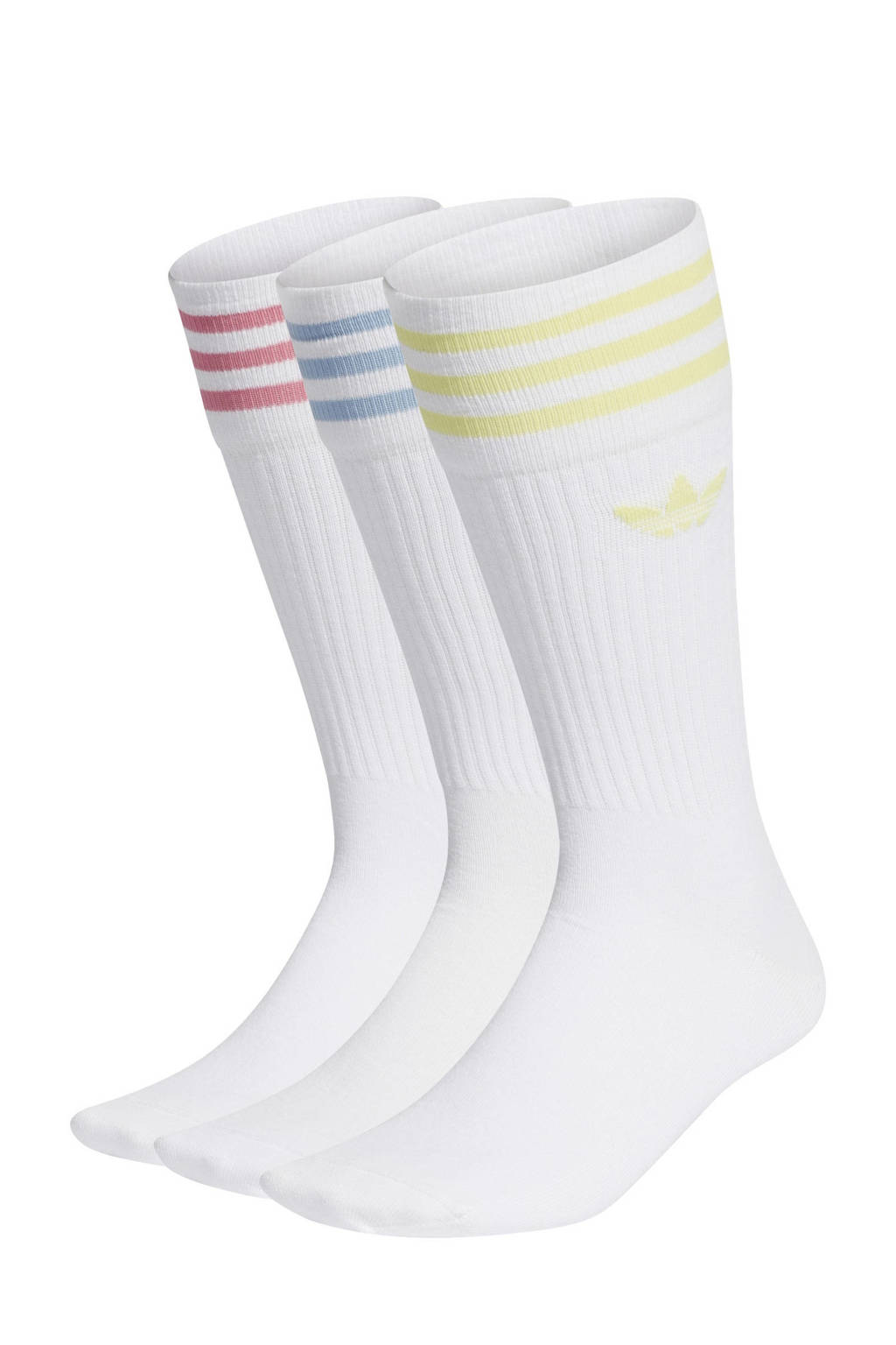 adidas Originals Adicolor sokken - set van 3 wit/geel/lichtroze/lichtblauw