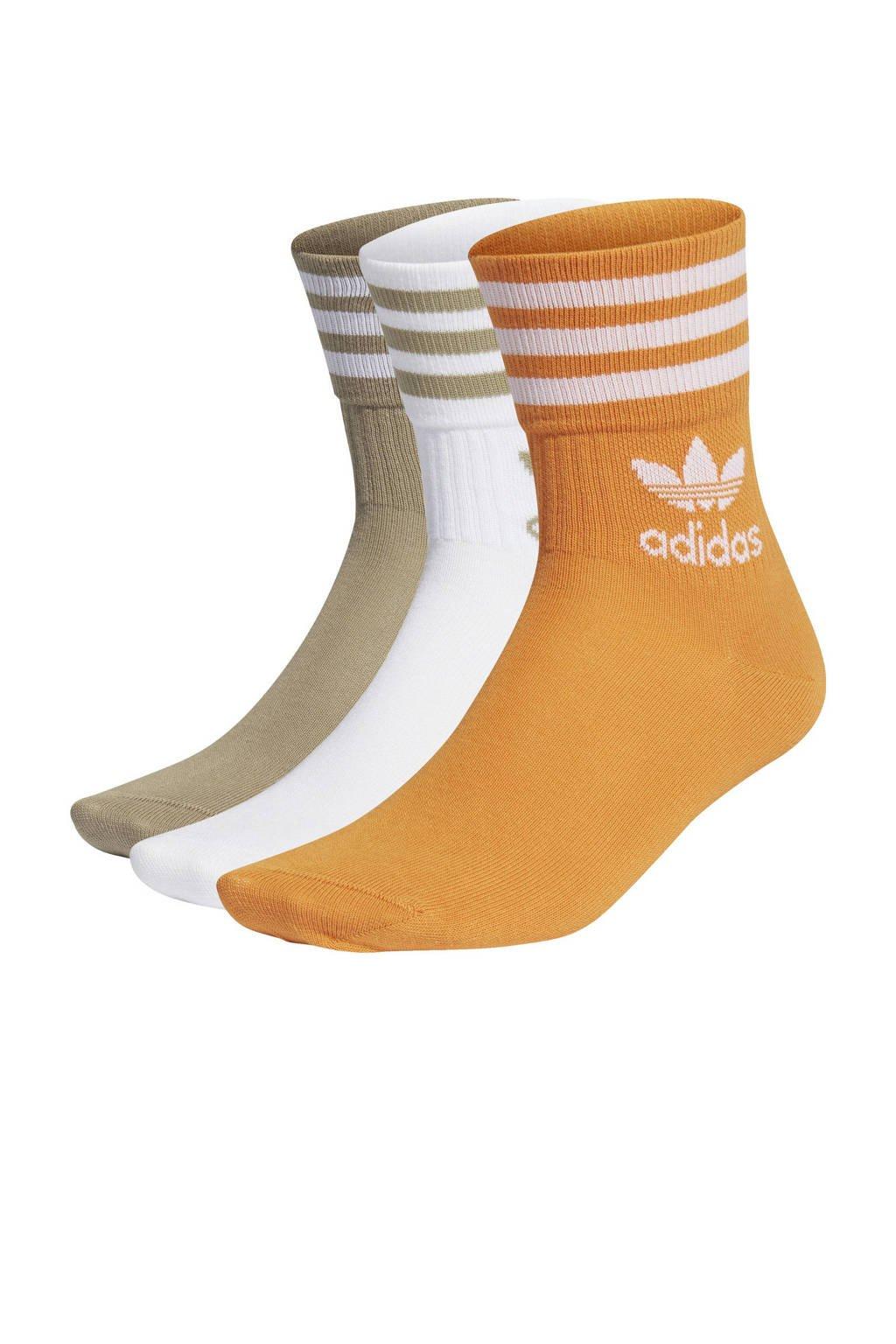 adidas Originals Adicolor sokken - set van 3 wit/oranje/kaki