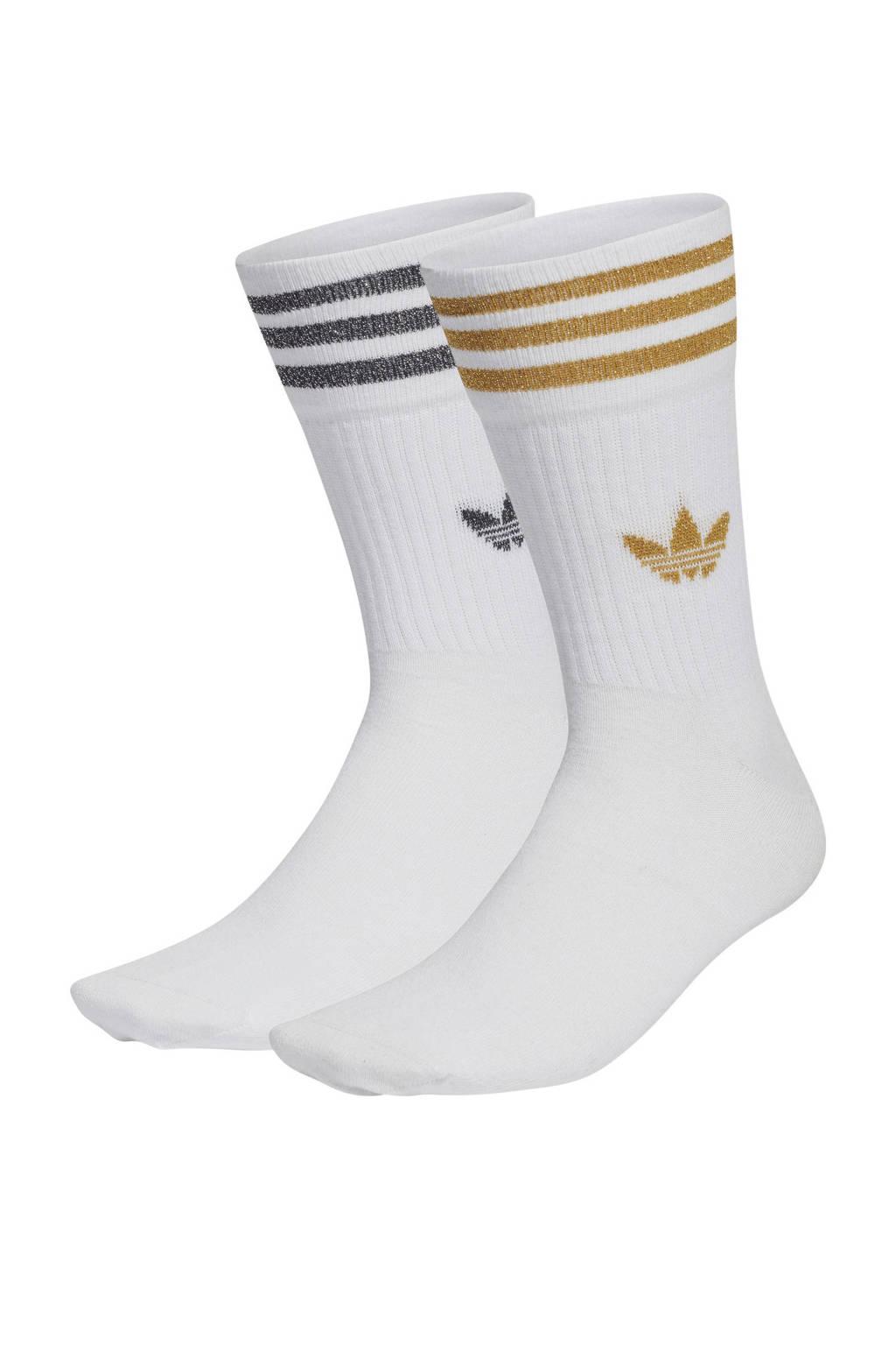 adidas Originals Adicolor sokken - set van 2 wit/zwart/goud, Wit/Zwart/Goud