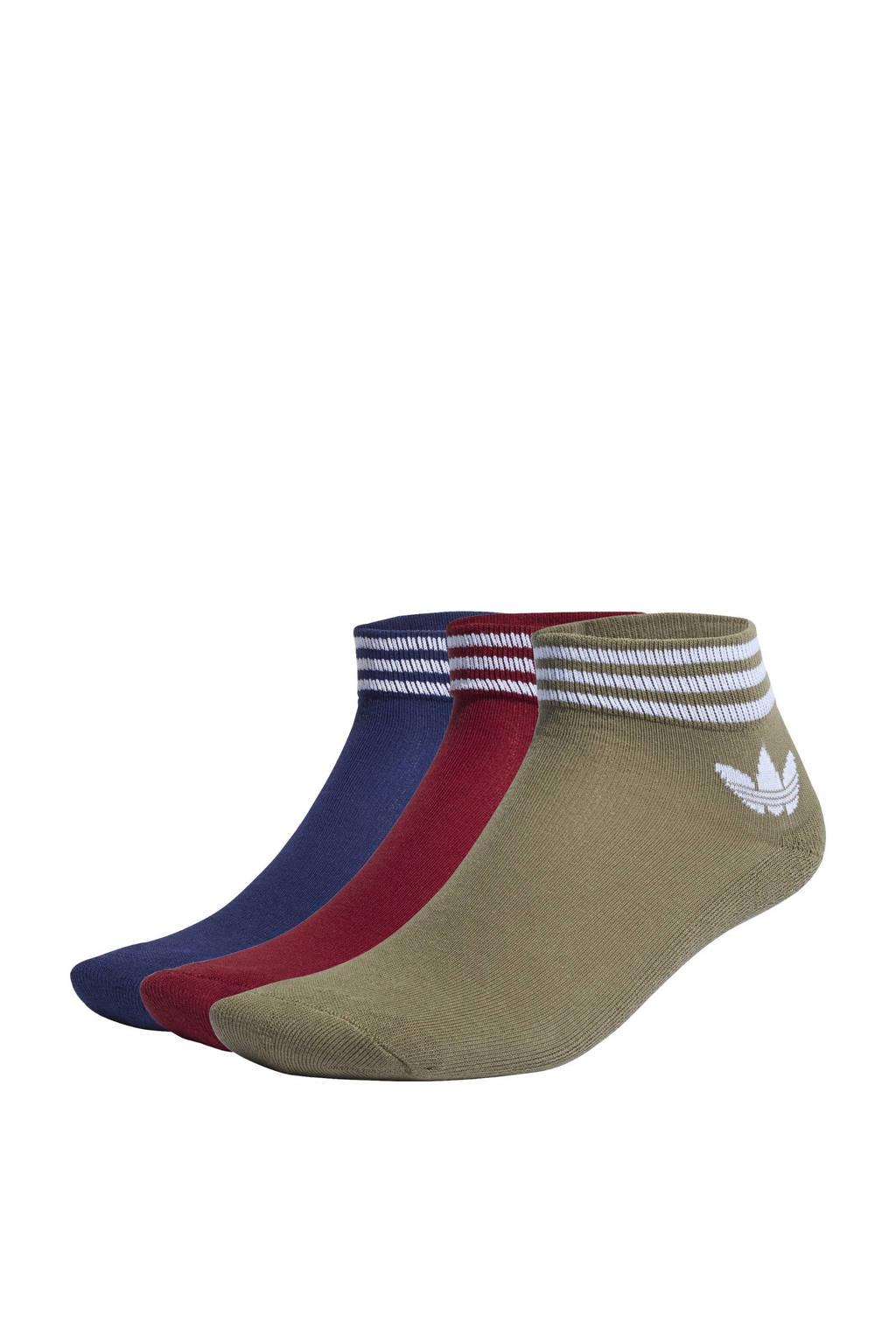 adidas Originals Adicolor sokken - set van 3 donkerrood/donkerblauw/olijfgroen/wit