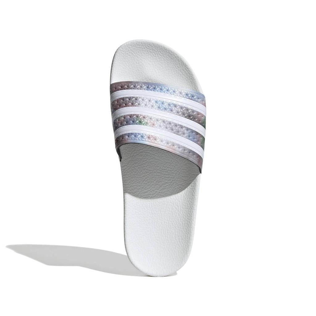 adidas Originals Adilette  badslippers wit/metallic zilver, Wit/metallic zilver