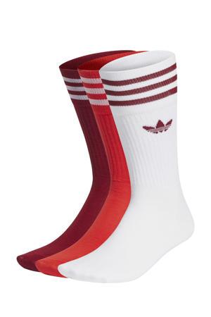 Adicolor sokken - set van 3 wit/donkerrood/rood